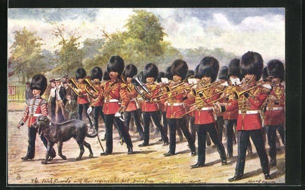 Künstler-AK Harry Payne: The Irish Guards, Irische Soldaten in Uniformen mit Blasinstrumenten und Sanitätshund 0