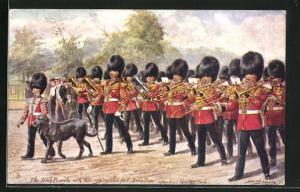 Künstler-AK Harry Payne: The Irish Guards, Irische Soldaten in Uniformen mit Blasinstrumenten und Sanitätshund