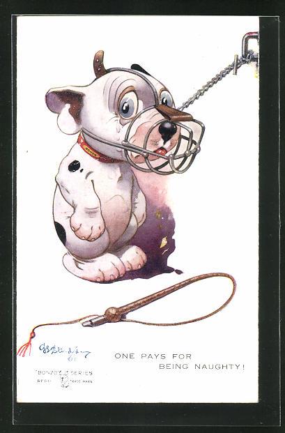 Künstler-AK George Ernest Studdy: One pays for being naughty!, Bonzo mit Maulkorb 0