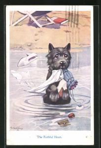 Künstler-AK George Ernest Studdy: The Faithful Heart, Hund spielt mit der Kleidung seines Frauchens