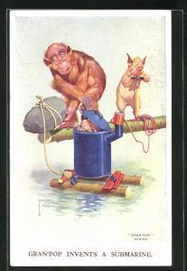 Künstler-AK Lawson Wood: Gran`pop invents a Submarine, Affen mit U-Boot Marke Eigenbau, vermenschlichte Tiere