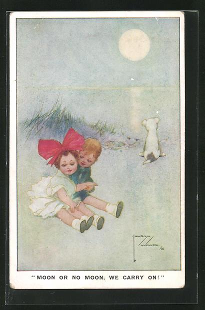 Künstler-AK Lawson Wood: Kleines Liebespaar im Mondlicht 0