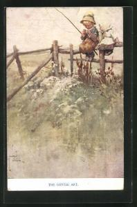 Künstler-AK Lawson Wood: The gentle Art, Mädchen neben kleinem Angler auf einem Zaun