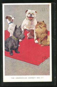 Künstler-AK Lawson Wood: The Aberdonian doesn`t see it!, Hunde lachen über einen Schottischen Terrier
