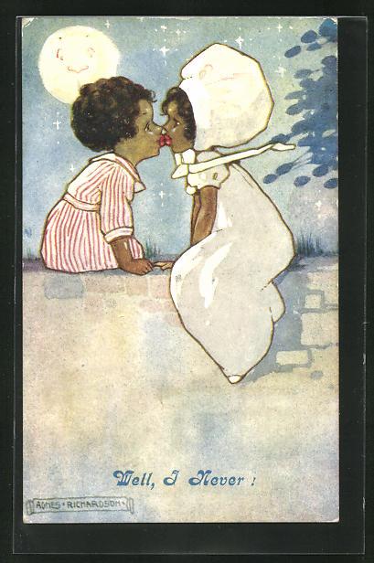 Künstler-AK Agnes Richardson: Well, I never!, Afrikanisches Paar beim Kuss 0