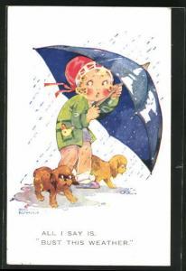 Künstler-AK Agnes Richardson: Mädchen mit ihren Hunden im Regen