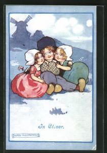 Künstler-AK Agnes Richardson: In Clover, Kleiner Holländer mit zwei Mädchen im Arm
