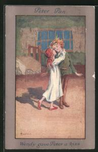Künstler-AK S. Barham: Peter Pan, Wendy gave Peter a Kiss