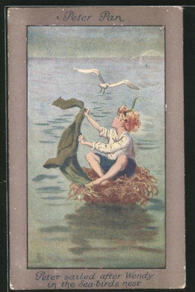 Künstler-AK S. Barham: Peter Pan, Peter sailed after Wendy in the Sea-Birds Nest 0
