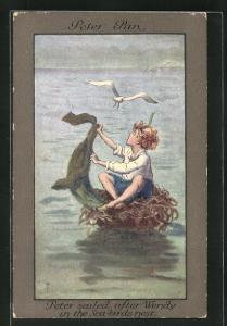 Künstler-AK S. Barham: Peter Pan, Peter sailed after Wendy in the Sea-Birds Nest