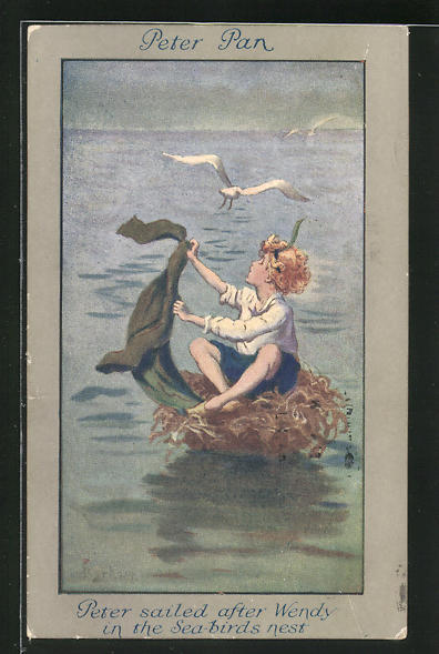 Künstler-AK S. Barham: Aus Peter Pan, Peter sailed after Wendy in the Sea-Birds Nest 0