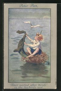 Künstler-AK S. Barham: Aus Peter Pan, Peter sailed after Wendy in the Sea-Birds Nest