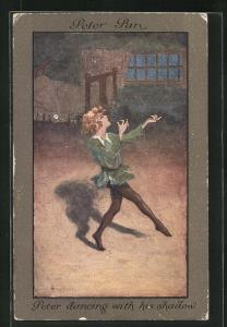 Künstler-AK S. Barham: Peter Pan, Peter dancing with his Shadow