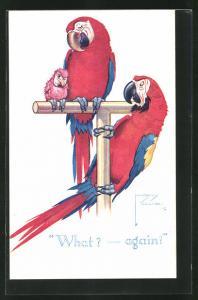Künstler-AK Lawson Wood: What? - Again!, Papageien mit Nachwuchs
