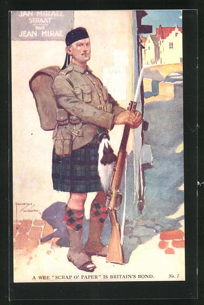Künstler-AK Lawson Wood: Schottischer Soldat in Uniform mit Gewehr und Marschgepäck 0