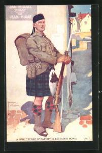 Künstler-AK Lawson Wood: Schottischer Soldat in Uniform mit Gewehr und Marschgepäck