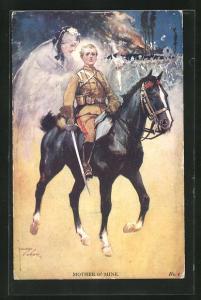 Künstler-AK Lawson Wood: Mother o`Mine, Junger Kavallerist mit gezogenem Degen denkt an seine Mutter