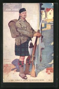 Künstler-AK Lawson Wood: Schottischer Soldat in Uniform mit Gewehr