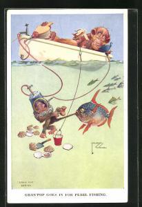 Künstler-AK Lawson Wood: Gran`Pop goes in for Pearl fishing, Affe taucht nach Perlen