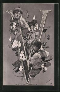 AK Portraits Schauspielerin Miss Violet Vanbrugh mit Blumen und der Buchstabe V