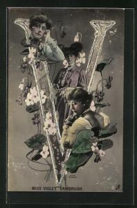 Glitzer-AK Portraits Schauspielerin Miss Violet Vanbrugh mit Blumen und der Buchstabe V