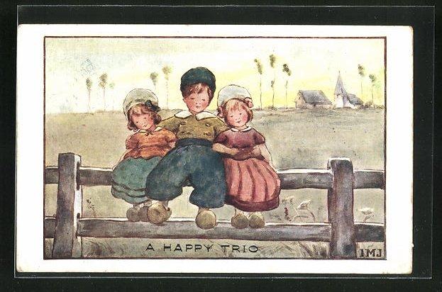 Künstler-AK I.M.J.: A happy Trio, Drei Kinder mit Holzschuhen auf einem Zaun sitzend 0