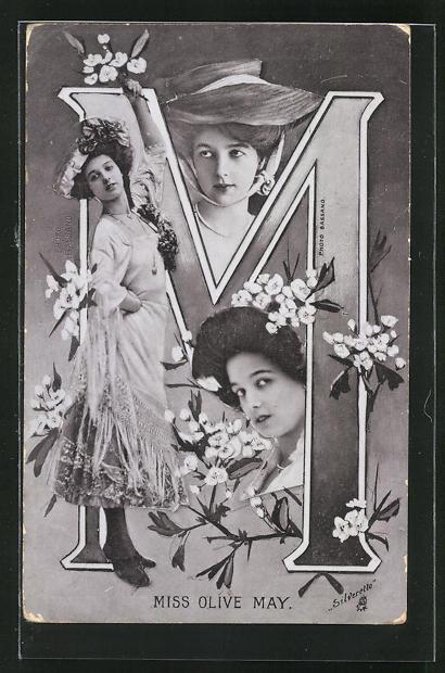 AK Portraits Schauspielerin Miss Olive May mit Blumen und der Buchstabe M 0