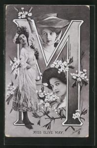 AK Portraits Schauspielerin Miss Olive May mit Blumen und der Buchstabe M