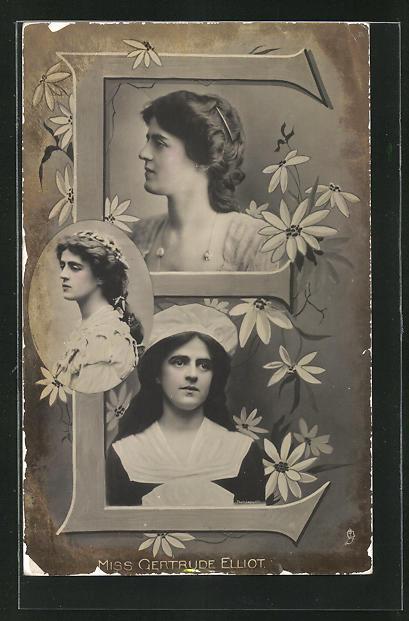 AK Portraits Schauspielerin Miss Gertrude Elliot mit Blumen und der Buchstabe E 0