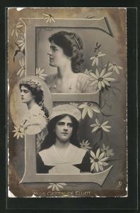 AK Portraits Schauspielerin Miss Gertrude Elliot mit Blumen und der Buchstabe E