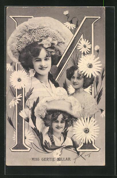 AK Portraits Schauspielerin Miss Gertie Millar mit Blumen und der Buchstabe M 0