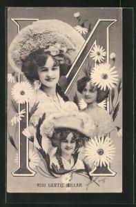 AK Portraits Schauspielerin Miss Gertie Millar mit Blumen und der Buchstabe M