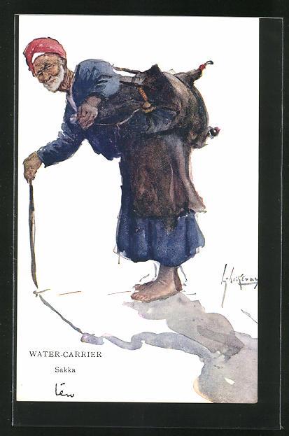 Künstler-AK L. Thackeray: Water-Carrier, Sakka, arabischer Wasserträger 0