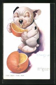Künstler-AK George Ernest Studdy: I`ve got the pip, Bonzo mit Orange