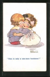 Künstler-AK Agnes Richardson: This is only a one-man business, Junge u. Mädchen umarmen sich