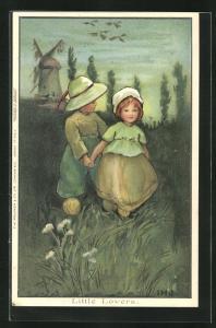 Künstler-AK I.M.J.: Little Lovers, Junge und Mädchen in Holzschuhen vor einer Windmühle