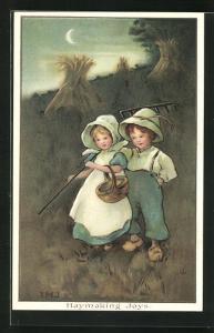 Künstler-AK I.M.J.: Haymaking Joys, Junge und Mädchen mit Holzschuhen auf einem Getreidefeld