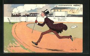 Künstler-AK Tom Browne: Overworked Oeerk