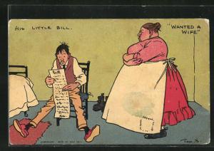 Künstler-AK Tom Browne: His Little Bill, Wanted A Wife