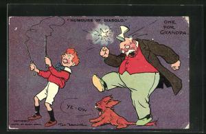 Künstler-AK Tom Browne: Humours Of Diabolo, One For Grandpa