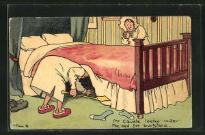 Künstler-AK Tom Browne: Mr Caudle looks under The bed for burglars