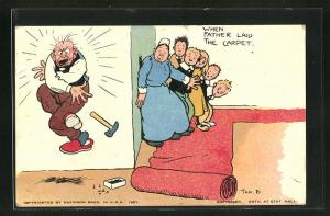 Künstler-AK Tom Browne: When Father Laid the Carpet