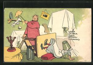 Künstler-AK Tom Browne: When Mother Does Spring Cleaning