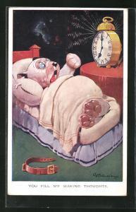 Künstler-AK George Ernest Studdy: You fill my waking thoughts, Bonzo beim Aufwachen