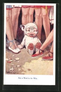 Künstler-AK George Ernest Studdy: Not a Word to the Wife, Bonzo sitzt vor hübschen Damenbeinen