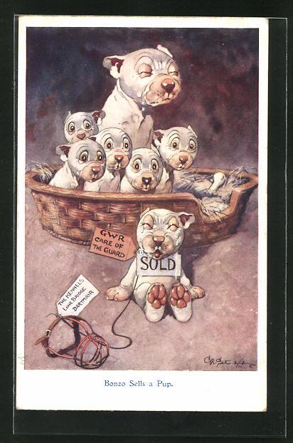Künstler-AK George Ernest Studdy: Bonzo Sells a Pup, Bonzo und Hundejunge mit Schild verkauft um den Hals 0