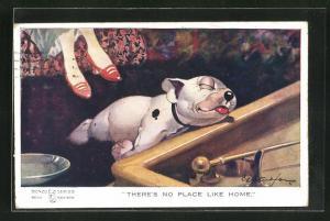 Künstler-AK George Ernest Studdy: There`s no place like home, Bonzo liegt vor dem Fressnapf