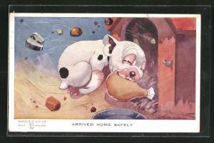 Künstler-AK George Ernest Studdy: Arrived home safely, Bonzo bringt eine Keule nach Hause