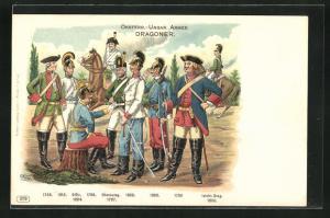 AK Österreichische-ungarische Armee, Dragoner, Offizier, Chevauleg. leichte Dragoner 1730-1894