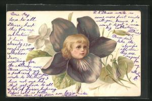 AK Portrait eines Mädchens in einer Blume